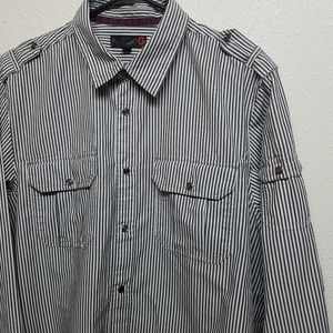 G by GUESS mens shirt western style grey white L